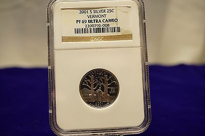 2001 S Vermont Silver Proof Ngc Pf69 Ultra Cameo Pr69