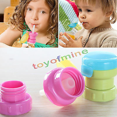 Children Portable Spill Proof Juice Soda Water Bottle Twist Cover Cap With straw