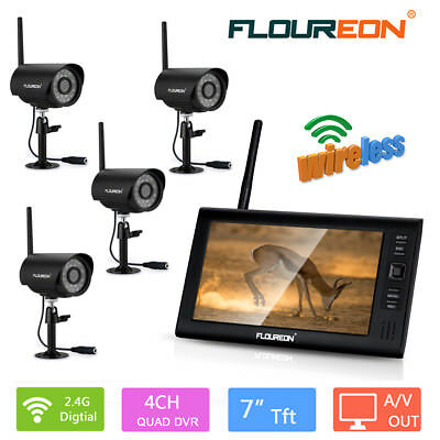 "7"" Wireless CCTV DVR Home Night Security Kit Monitor Video System Camera TFT LCD"