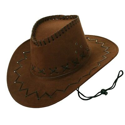 Adult Brown Suede Cowboy Cowgirl Hat Wild West Costume Western Party Accessory