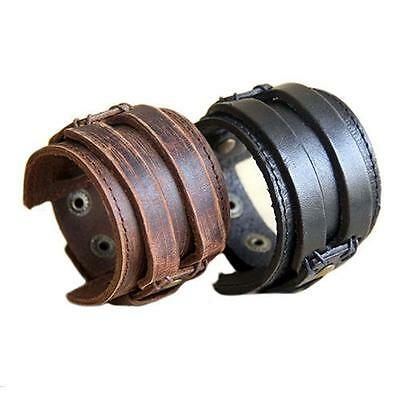Fashion Men Retro Genuine Leather Buckle Punk Cuff Bangle Wristband Bracelet DB