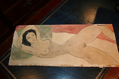 Amedeo Modigliani Old drawing on paper ORIGINAL HANDMADE cracks signed woman