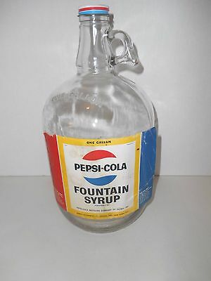 Vintage PEPSI-COLA Fountain Syrup One Gallon Glass Jug with Label and Cap