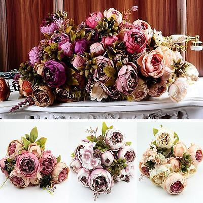 Artificial Bouquet 10 Heads Peony Silk Flowers Leaf Home Wedding Party Decor DB