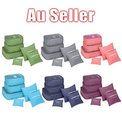 6Pcs Waterproof Travel Storage Bag Clothes Packing Cube Luggage Organizer Po OO
