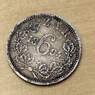 1894 South Africa 6 Pence Silver