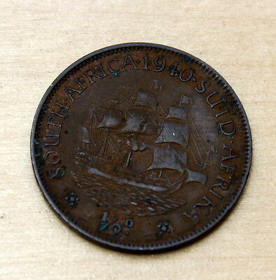 1940 South Africa 1/2 Penny Sailing Ship
