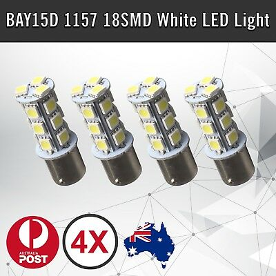 4pcs of  BAY15D 18SMD 1157 LED Dual Car Brake Stop Tail White Light Bulbs 12V DC