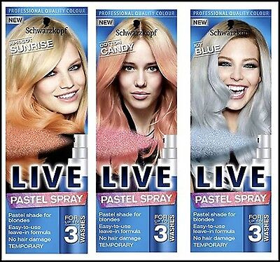 NEW Schwarzkopf LIVE  Pastel Hair Spray- For Up to 3 Washes 125 ml