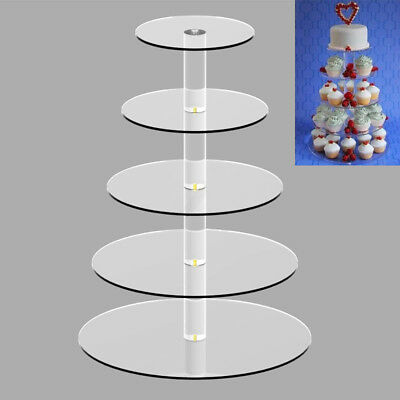 Clear Acrylic 5 Tiers Cup Cake Stand for Wedding Cupcakes, High Tea & Parties AU