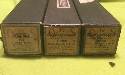 Vintage ~  Player Piano Music Rolls ~ QRS ~ In Original Box ~ Lot Of Three