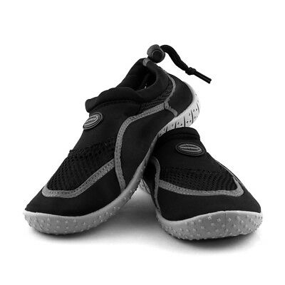 Kids Adjustable Aqua Shoes in Black and Grey from Mirage Watersports
