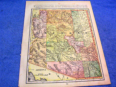 Antique Map Of Arizona W/ Railroads & Indian Reservations    From 1894  Look!!