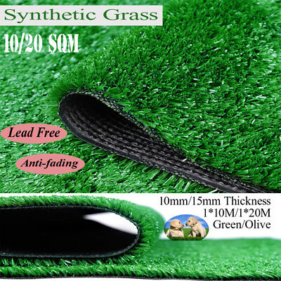10  20 SQM Synthetic Turf Artificial Grass Plastic Plant Lawn Flooring 10MM 15MM