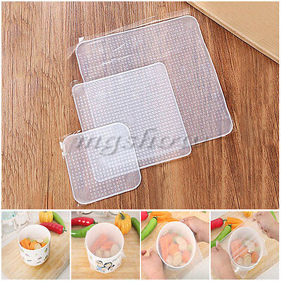 3x Silicone Wraps Seal Cover Stretch Cling Film Food Fresh Keep Kitchen set