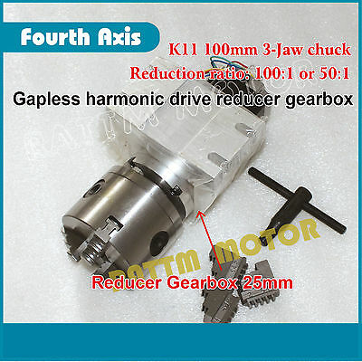 CNC Rotary 4th axis Dividing head Gapless harmonic reducer 3-jaw chuck 100:1