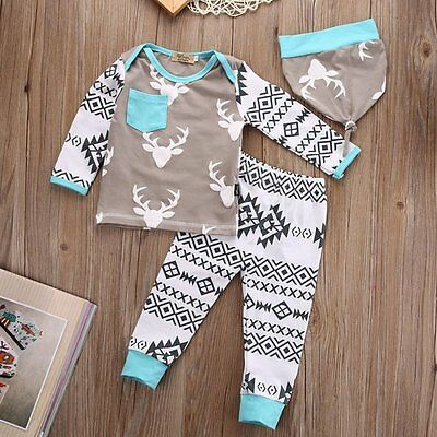Lovely 3Pcs Kids Baby Girls Boy Long Sleeve T-shirt Top + Pants + Hat Set Outfit