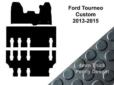 Ford Tourneo Custom LWB (2013 to 2015) Tailored Black Rubber Van Floor Mat