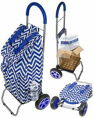 DBST-01587-Trolley Dolly, Blue Chevron Shopping Grocery Foldable Cart