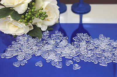 50/100Personalised Clear Acrylic Wedding Love Heart Table decoration confetti