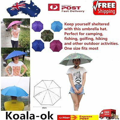 Portable 69cm Umbrella Hat Cap Folding Fishing Hiking Handsfree Umbrella LOT OK