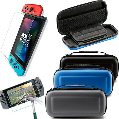 EVA Carrying Case Bag & HD/Tempered Glass Screen Protector For Nintendo Switch