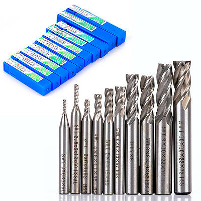 10Pcs 4 Flute Carbide HSS-A End Mill CNC Router Tools Dia 2-10mm Milling Cutter