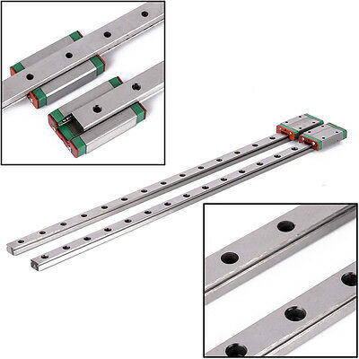 2pcs 12mm MGN12 400mm Linear Rail Guide Slider with MGN12 Block Carriage Kits