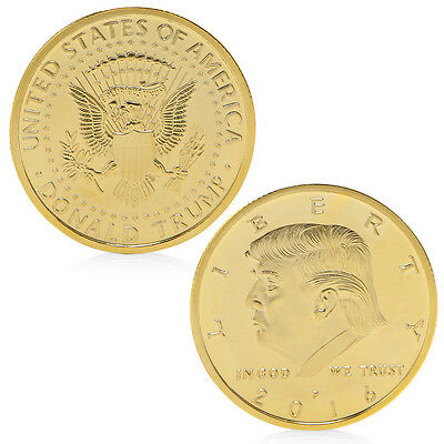 President Donald Trump In God We Trust Golden Commemorative Coin Token Gift