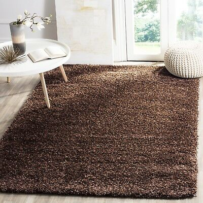 LARGE SOFT SHAGGY BROWN NON SHED PLAIN RUGS 5cm THICK PILE MODERN AREA CARPETS
