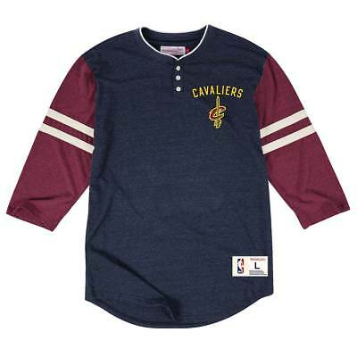 Mitchell & Ness Cleveland Cavaliers Home Stretch Henley 3/4 Sleeve NBA T-Shirt