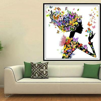 5D Butterfly Beauty Lady DIY Diamond Embroidery Painting Cross Stitch Decor DB
