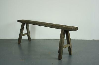 Old Rustic Antique Vintage Wooden Waxed Pig Bench Small Pb16