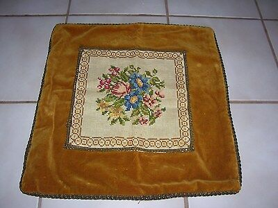 "Vintage Velvet Needlepoint Pillow Cover Handmade Zippered 19"" x 19"""