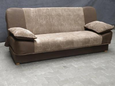 New Sonia Click Clack Sofabed 2 Tone Grey or Beige , Fabric 3 seater Sofa Bed