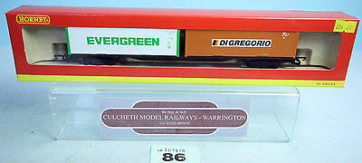 Hornby 'oo' Gauge R6202 Container 2X 30Ft Evergreen-Di Gregorio Wagon Boxed #86G
