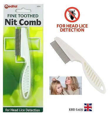 FINE TOOTH METAL NIT COMB Hair Plastic Handle Remove Gritty Nitty Head Lice Eggs