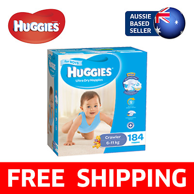 184 PACK Huggies Ultra Dry Disposable Nappies - Crawler Boys 6-11kg (Nappy)