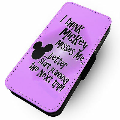 I Think Mickey Misses Me Printed Faux Leather Flip Phone Cover Case Minnie #1