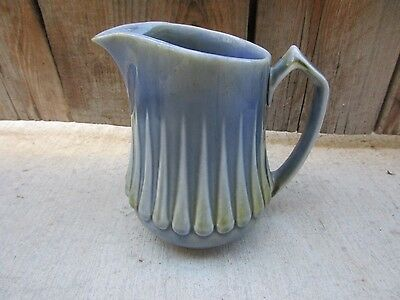 "Vintage Wade Irish Porcelain WDE1 Blue/Brown Toned Ribbed 5 3/4"" Pitcher Creamer"