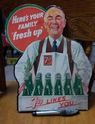 1948 7Up Die Cut Counter Display Advertising Sign