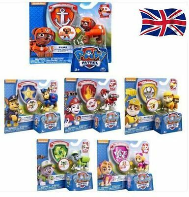 New 2017--6 Paw Patrol Action Pack Pup dog backpack projectile toys Figure UK