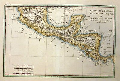 1782 Bonne Map of Southern Mexico and Central America - ORIGINAL MAP