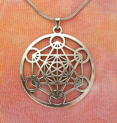 """Large & Powerful Metatrons Cube Necklace, 16-24"""" inch 2mm chain, Sacred Geometry"""