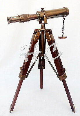 Nautical Antique Brass Telescope With Wooden Tripod Stand Collectible Desk Decor