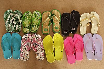 Lot of 10 Pairs of Flip Flops Sandals Size 6 Mixed Lot