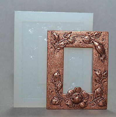 FLORAL FRAME SILICONE MOULD polymer clay fimo plaster wax embossing powder mold
