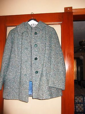 1960s Vintage Pendleton Green Wool Fleck Herringbone 3 Pc. Skirt Suit Vtg. Sz.16