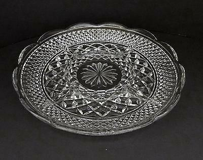 ANCHOR HOCKING Clear Glass Scalloped Divided WEXFORD Veggie & Dip Plate
