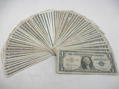 Lot of 63 U.S. One Dollar Silver Certificates 1957